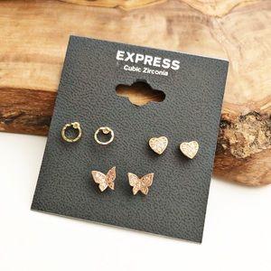 Express good pavè cubic zirconia trio earrings